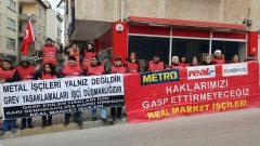 Nakliyat-İş'ten: Metal İşçileri ile dayanışma için sendikamız Konya'da, aylardır gasp edilen hakları için direnen Real Direnişçileri de İstanbul'da eylem yaptı