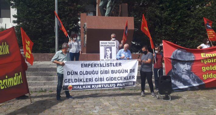 HKP İzmir İl Örgütü İzmir'in İşgalinin 101'inci Yılını Hasan Tahsin Anıtı Önünde Andı.