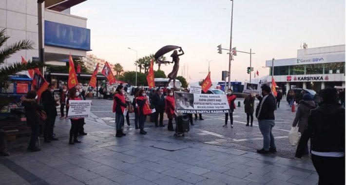 Halkın Kurtuluş Partili Kadınlar olarak İzmir'de, 25 Kasım Kadına Yönelik Şiddete Karşı Mücadele Günü'nde alanlardaydık